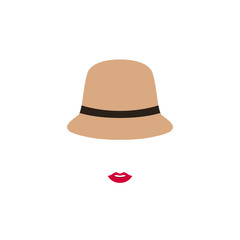 Woman with red lips  in retro hat. Vector emblem design template with girl silhouette. Concept for beauty salon, accessories, fashion, cosmetics.