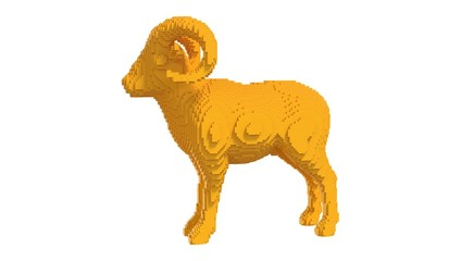 Yellow mouflon from plastic blocks on a white background