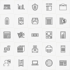 Accountant line icon set with cash dispenser machine, mobile graphics and check