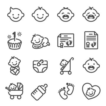Line Vector Icon Set of Baby Newborn. Contains Icons Birth Certificate, Trolley, Diapers, Birthday Cake and more.