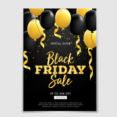 Black Friday sale brochure or flyer with ribbon and balloons gold
