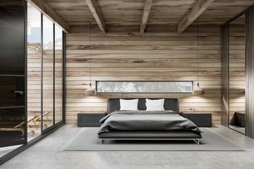 Wooden master bedroom interior