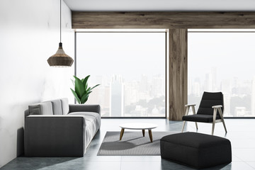 Loft white living room with armchairs