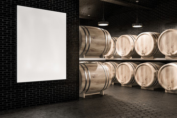 Black brick wine cellar, kegs and poster