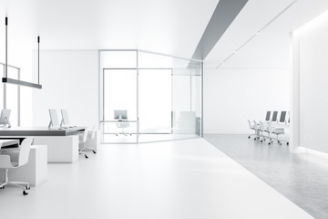 White office interior, meeting room and open space
