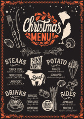 Christmas menu template for steak restaurant.