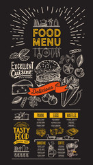 Food menu. Vector flyer for restaurant on blackboard background. Design template with vintage hand-drawn illustrations.