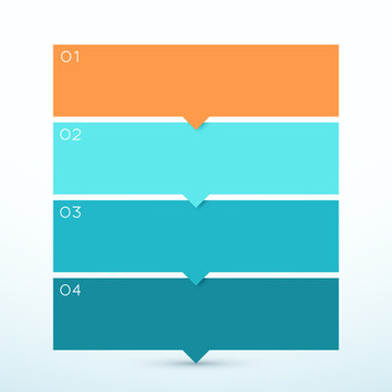 4 Step Arrow List Colorful Banners Infographic Diagram