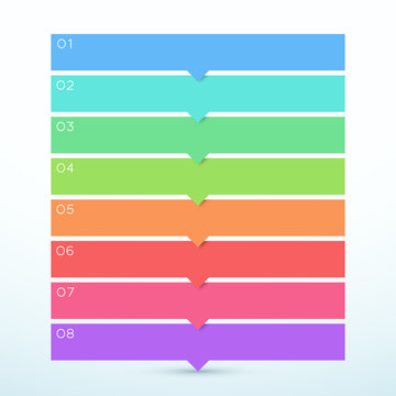8 Step Arrow List Colorful Banners Infographic Diagram