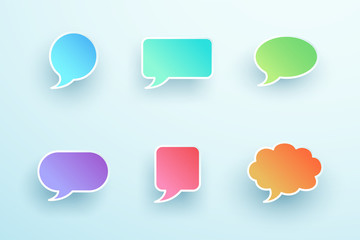 Vector 3d Colorful Speech Bubble Shapes Set