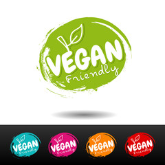 Wall Mural - Set of vegan food badges. Vegan friendly. Vector hand drawn labels.