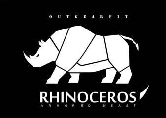 Rhino, white rhinoceros.