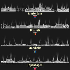 Fototapete - vector cityscapes of Amsterdam, Brusselsm Stockholm and Copenhagen in black and white color palette. flags of Netherlands, Belgium, Sweden and Denmark