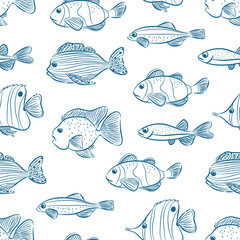 seamless different fishes