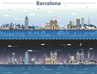 vector illustration of Barcelona cityscape at day and night