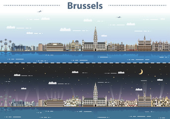 vector illustration of Brussels cityscape at day and night