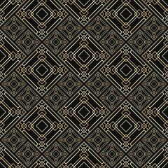 Seamless pattern in Art Deco style. Black and golden tilework. Diamond tiles. Luxury background.