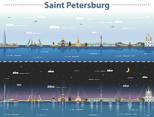 Fototapete - vector illustration of Saint Petersburg city skyline at day and night