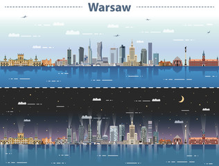Fototapete - vector illustration of Warsaw city skyline at day and night