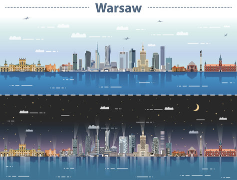 vector illustration of Warsaw city skyline at day and night
