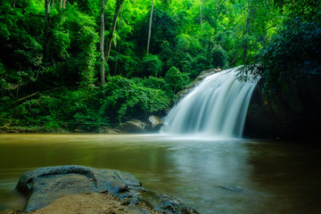 Beautiful Waterfall in Thailand.Scenic waterfall in tropical forest background.