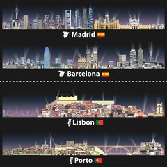 Fototapete - vector illustration of Madrid, Barcelona, Lisbon and Porto cities skylines at night with bright lights. Maps and flags of Spain and Portugal