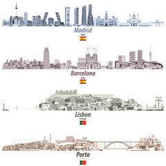 vector illustration of Madrid, Barcelona, Lisbon and Porto abstract cities skylines in brightful color palette