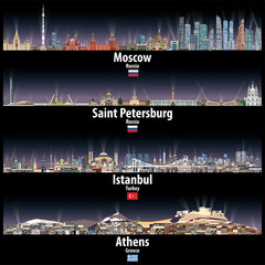 Fototapete - vector illustration of Moscow, Saint Petersburg, Istanbul and Athens skylines at night with bright city lights