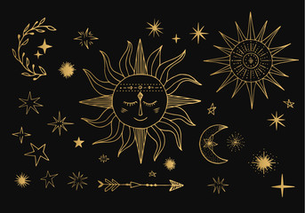 Sun in space with stars and crescent. Tattoo designs.