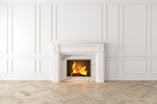 Modern classic white interior with fireplace, wall panels, wooden floor. 3d render illustration mock up