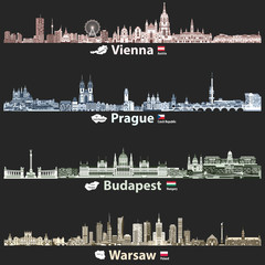 Fototapete - vector abstract illustration of Vienna, Prague, Budapest and Warsaw cities skylines at night in bright color palettes isolated on black background
