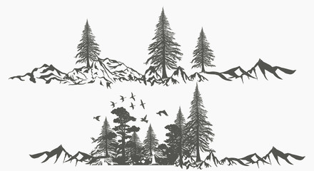 Collection of vector forest borders with mountains for design