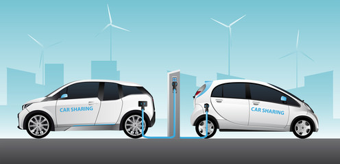 Two carsharing electric car with charging station. Vector illustration EPS 10