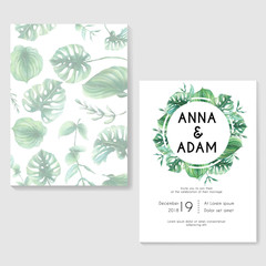 wedding invitation with green tropical leaf wreath watercolor