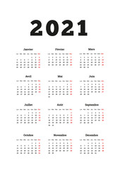 2021 year simple calendar on french language, A4 size vertical sheet isolated on white
