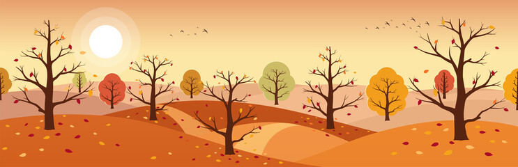 Autumn countryside landscape. Landscapes of mountains with trees and falling yellow, red foliage. Horizontal panoramic autumn landscape.