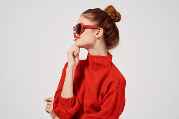 bright happy woman in sunglasses in profile