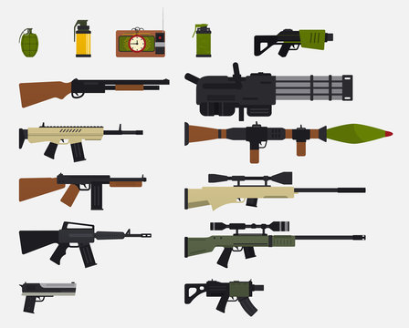 Modern battle weapons. Set of military weapons, automatic firearms, rifles, shotgun, revolver, grenades, explosive device.