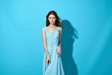 woman in blue dress summer fashion style