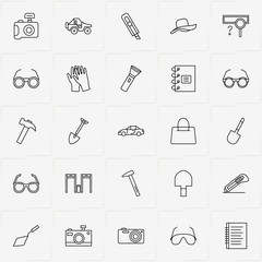 Archeology line icon set with trowel, cutter and hat