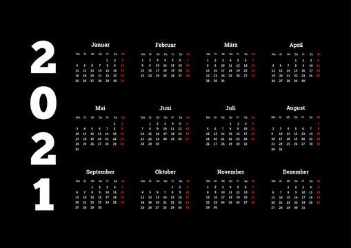2021 year simple calendar on german language on dark background