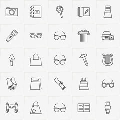 Archeology line icon set with gloves, scroll  and magnifier