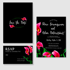 wedding invitation with cala lily pink watercolor