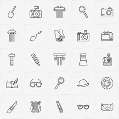 Archeology line icon set with harp, bag and cutter
