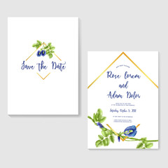 wedding invitation with butterfly pea flower watercolor frame gold