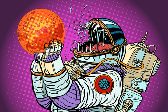 Astronaut monster eats Mars. Greed and hunger of mankind concept