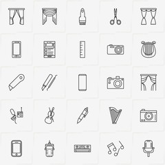 Art line icon set with painting brush, smart phone and music notes