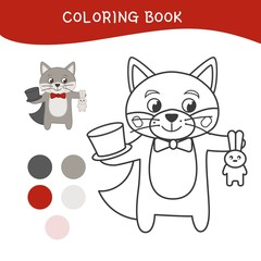 Coloring book for children. Cartoon cute wolf.