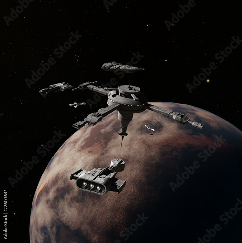 """Busy Interstellar Space Station During the Rush Hour - science fiction illustration"" Stock photo and royalty-free images on Fotolia.com - Pic 226171637"