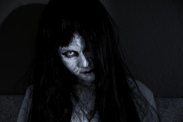 Close up face of horror woman ghost cruel,